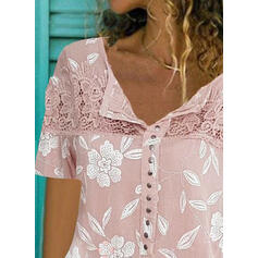 Print Floral Lace V-Neck Short Sleeves Button Up Casual Blouses