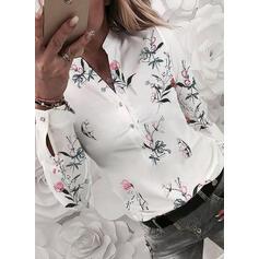 V шеи Длинные рукова Кнопка вверх Повседневная Рубашка Блузки