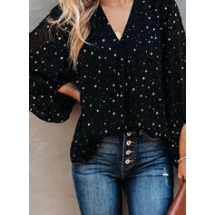 Print V-Neck Long Sleeves Casual Blouses