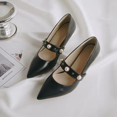 Women's Leatherette Patent Leather PU Stiletto Heel Pumps With Imitation Pearl Rivet Buckle shoes