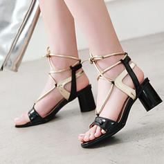 Frauen PU Stämmiger Absatz Sandalen Absatzschuhe Peep Toe Slingpumps mit Zuschnüren Schuhe