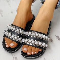 Femmes PVC Talon plat Sandales À bout ouvert Chaussons avec Strass Perle d'imitation chaussures