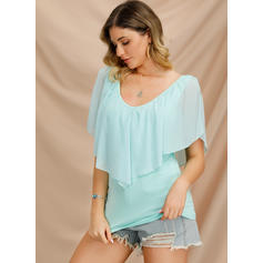 Solid Round Neck Batwing Sleeve 1/2 Sleeves Casual Blouses