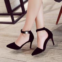 Dla kobiet Zamsz Obcas Stiletto Czólenka Zakryte Palce Z Klamra obuwie