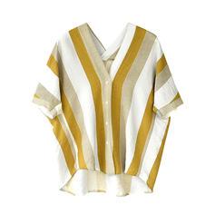 Coton Col V Striped Manches courtes Blouses de Loisirs