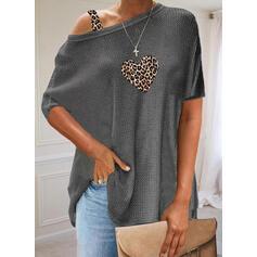 Leopard Srdce Jedno rameno Krátké rukávy Neformální kötött Blůzy