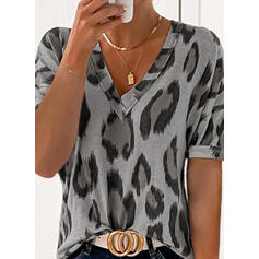 """Leopard Výstřih do """"V"""" Krátké rukávy Trička"""