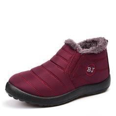 Femmes Tissu Talon plat Bout fermé Bottes neige avec Fausse Fourrure chaussures