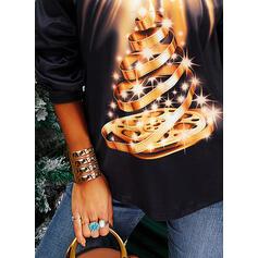 Drucken Pailletten Kalte Schulter Lange Ärmel Freizeit Weihnachten Blusen