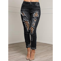 Patchwork Les poches Grande taille Léopard Longue Sexy Treillis Jeans