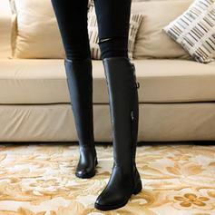 Жіночі Шкіра Низький каблук Чоботи вище коліна з Пряжка Блискавка взуття
