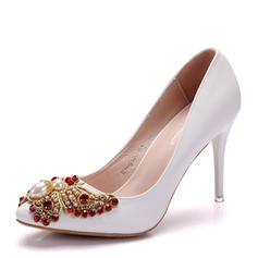 Women's Leatherette Stiletto Heel Closed Toe Pumps With Pearl