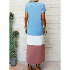 Print/Color Block/Heart Short Sleeves Shift T-shirt Casual Maxi Dresses