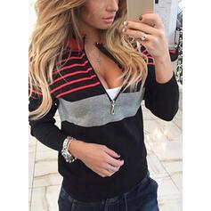 Striped V-Neck Long Sleeves Sweatshirt