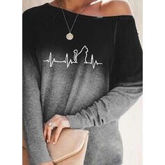 Print Gradient One-Shoulder Long Sleeves Casual T-shirts