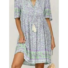 Print 1/2 Sleeves Shift Above Knee Casual Tunic Dresses