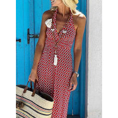 Geometric Print Sleeveless Sheath Casual/Vacation Maxi Dresses