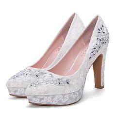 Women's Mesh Stiletto Heel Pumps Platform Closed Toe With Rhinestone shoes