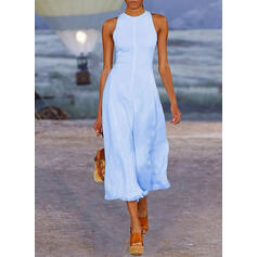 Solid Sleeveless A-line Party/Elegant Midi Dresses