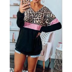 Leopardo Um Ombro Manga Comprida Casual Camisetas