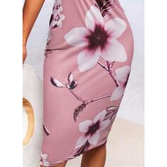 Print/Floral Lace Sleeveless Bodycon Slip Casual Midi Dresses