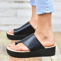 Women's PU Wedge Heel Sandals Flats Slippers With Others shoes