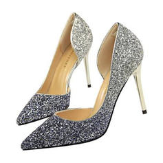 Women's Sparkling Glitter Stiletto Heel Sandals Pumps Closed Toe With Sequin shoes