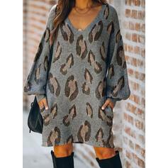 λεοπάρδαλη Hosszú ujjú Ingruha Térd feletti Hétköznapokra Sweter φορέματα