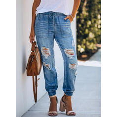 Shirred Ripped Long Casual Tribal Denim & Jeans