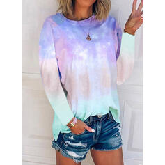 Tie Dye Round Neck Long Sleeves