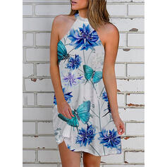 Print/Floral/Animal Sleeveless Shift Above Knee Casual Dresses