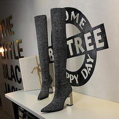 Femmes Tissu Talon bottier Escarpins Bout fermé Bottes Cuissardes avec Talon cristal chaussures