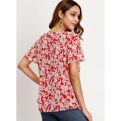Print V Neck Short Sleeves Casual Elegant Blouses