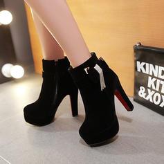 Femmes Suède Talon bottier Escarpins Plateforme Bottes avec Bowknot Zip chaussures