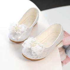 Girl's Lace Round Toe Closed Toe Flats With Bowknot