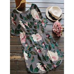 Print/Floral Short Sleeves Shift Knee Length Casual/Elegant Dresses