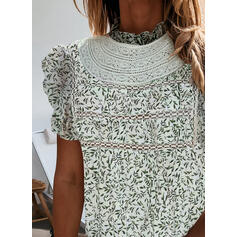 Print Lace Stand collar Cap Sleeve Casual Blouses