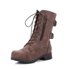 De mujer PU Tacón ancho Salón Botas Martin botas con Hebilla Cremallera Cordones zapatos