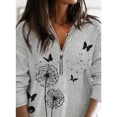 Animal Print Lapel Casual Sweaters