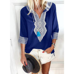 Print V Neck 3/4 Sleeves Casual Blouses