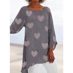Распечатать Шею Длинные рукова Повседневная Блузы