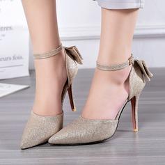 Femmes Similicuir Talon stiletto Sandales avec Bowknot Pailletes scintillantes Boucle chaussures