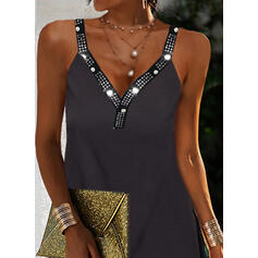 Solid Sequins Sleeveless Shift Above Knee Little Black/Casual Dresses