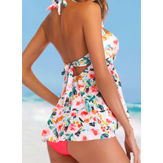Plaid Splice color Backless Knotted Lace Up Color Block Halter U-Neck Cute Colorful Casual Tankinis Swimsuits