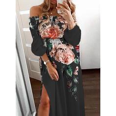 Print/Floral 3/4 Sleeves A-line Casual/Elegant Maxi Dresses