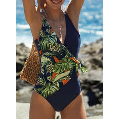 Floral Print Knotted Strap Sexy One-piece Swimsuits