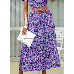 Print Short Sleeves A-line Skater Boho/Vacation Maxi Dresses