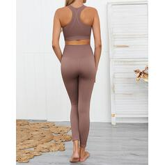 Strap Sleeveless Solid Color Yoga Sets
