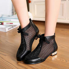 Frauen Echtleder Niederiger Absatz Stiefel mit Andere Schuhe