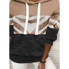 Color Block Sequins Long Sleeves Hoodie